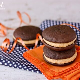 three whoopie pies with peanut butter marshmallow filling