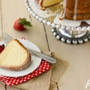 a slice of Cream Cheese Pound Cake on a white plate
