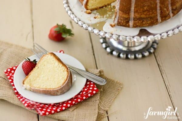 Cream Cheese Pound Cake with Almond Glaze