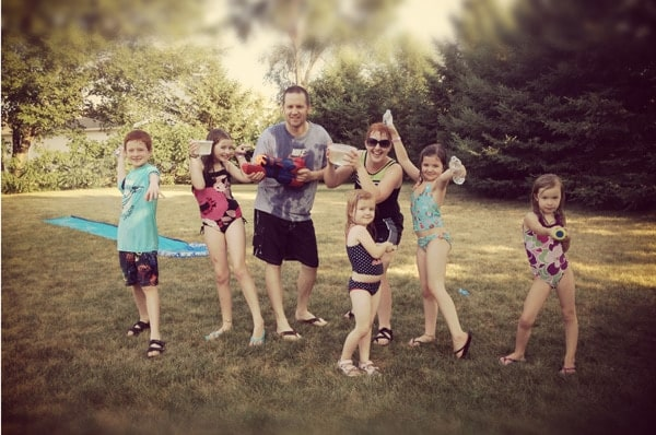 a family water fight