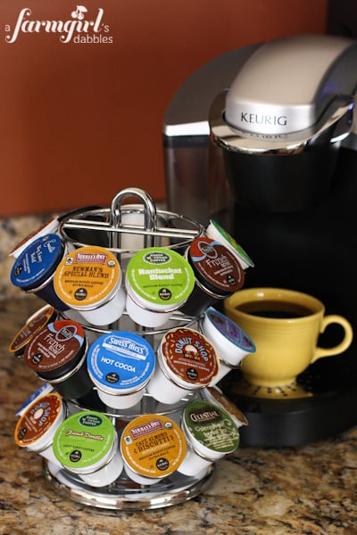 A K Cup Stand Filled with Flavored Coffee