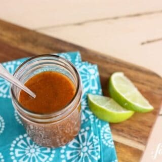 Honey and Chipotle Vinaigrette in a mason jar