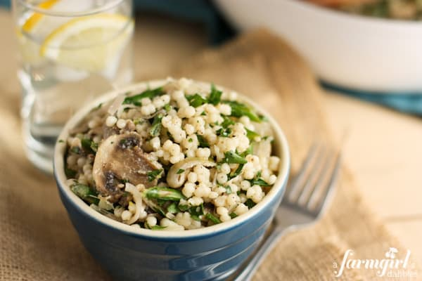 Israeli Couscous with Mushrooms, Shallots, and Asparagus
