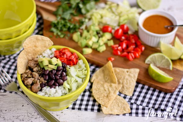 Turkey Taco Bowls with Cilantro Lime Rice - www.afarmgirlsdabbles.com