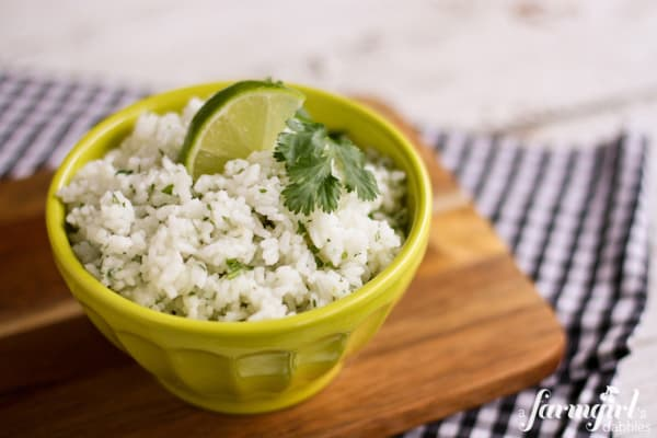 a green bowl of Cilantro Lime Rice
