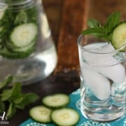 a glass of cucumber and mint water