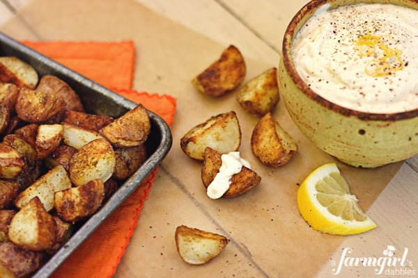 cumin roasted potatoes with feta dip