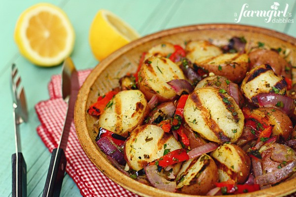 roasted potatoes with grilled peppers and onions