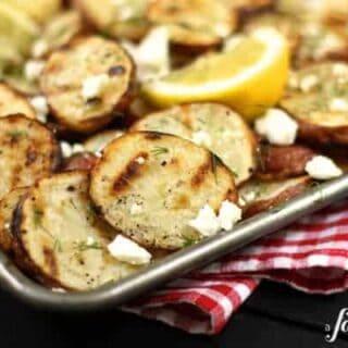 roasted potatoes with feta and lemon