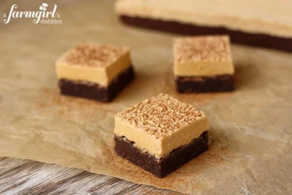 Espresso Brownies with Peanut Butter Marshmallow Frosting - www.afarmgirlsdabbles.com