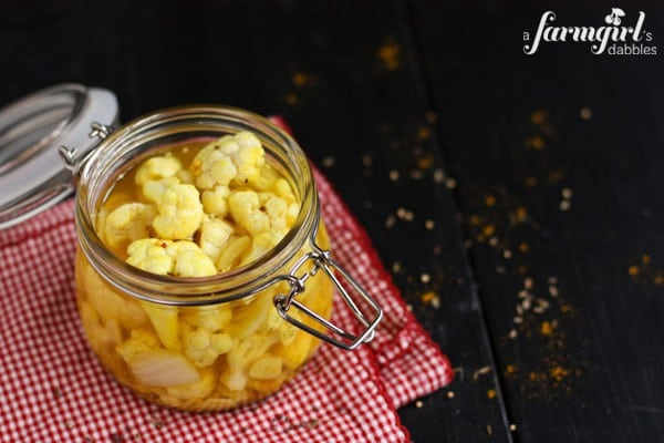 Pickled Curry Cauliflower - www.afarmgirlsdabbles.com
