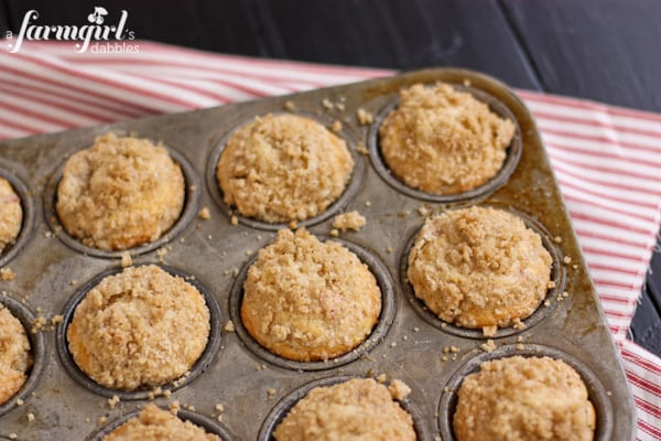 a pan of muffins topped with Cardamom Crunch Topping