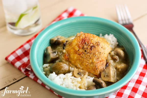 Shandy Braised Chicken with Mushrooms and Green Olives - www.afarmgirlsdabbles.com