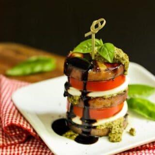 potato stacks with mozzarella and tomatoes