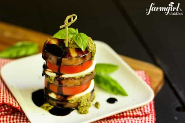 Caprese Stacks with Grilled Honey Balsamic Potatoes - www.afarmgirlsdabbles.com