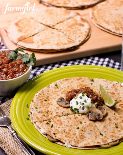 Cheesy Mushroom and Herb Quesadillas with Smoky Salsa - www.afarmgirlsdabbles.com
