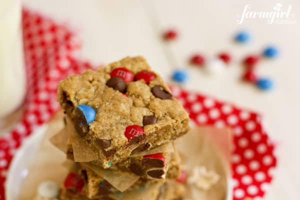 Melanie's Monster Cookie Bars {for July 4th!} - www.afarmgirlsdabbles.com