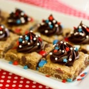 Monster Cookie Bars with chocolate frosting