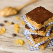 Peanut Butter Cereal Bars with {the best} Chocolate Frosting