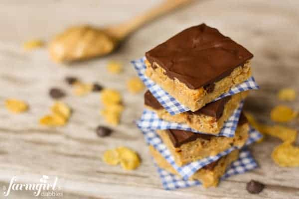 a stack of Chocolate Peanut Butter Cereal Bars