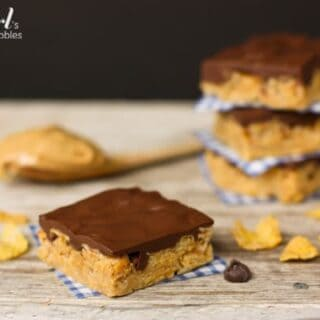 Chocolate covered Peanut Butter Cereal Bars
