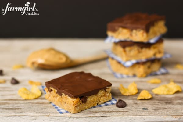 Peanut Butter Cereal Bars with {the best} Chocolate Frosting - www.afarmgirlsdabbles.com