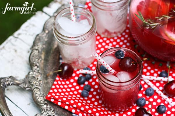 Sangria on a silver serving tray