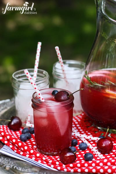Sangria in Rosé, Bourbon, and Blue - www.afarmgirlsdabbles.com