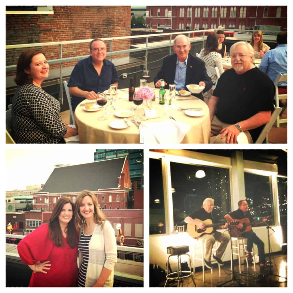 collage of pictures from a dinner in Nashville
