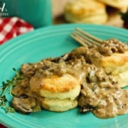 Biscuits with sausage and mushroom gravy on a plate