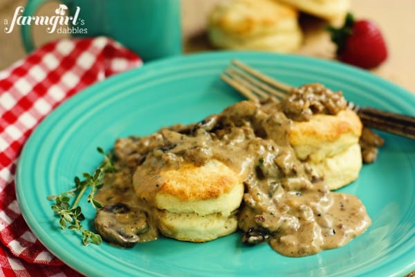 Biscuits with Sausage and Mushroom Gravy - www.afarmgirlsdabbles.com