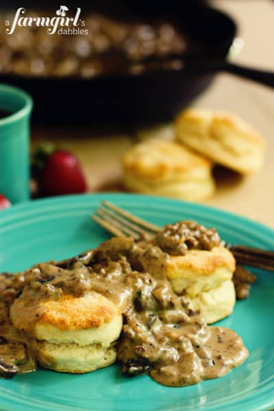 Biscuits with Sausage and Mushroom Gravy from afarmgirlsdabbles.com