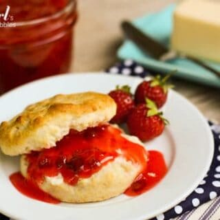 a biscuit topped with Strawberry Rhubarb Jam