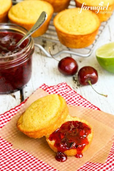cornbread muffins and cherry jam