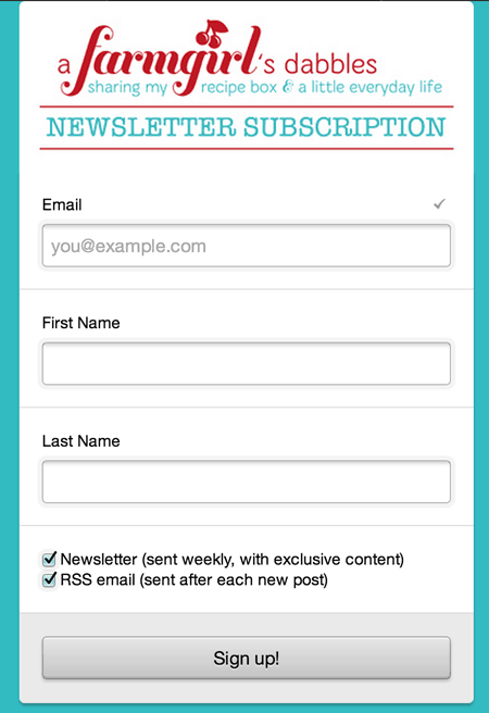 weekly newsletter and RSS email subscription form - a farmgirl's dabbles