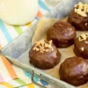 a pan of chocolate dipped Peanut Butter Bonbons