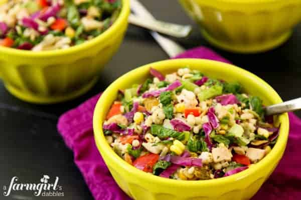 Chopped Chicken and Couscous Salad with Sweet Basil Dressing - www.afarmgirlsdabbles.com