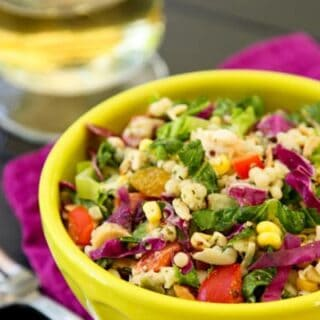 This couscous salad with chopped chicken is bursting with sweet basil flavor.