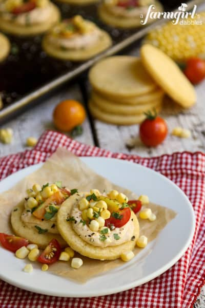 Honey Shortbread Bites with Smoky Cream Cheese, Sweet Corn & Tomatoes ...
