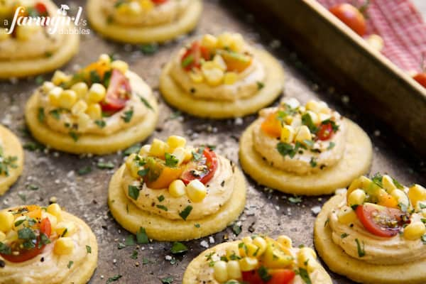 Honey Shortbread Bites with Smoky Cream Cheese, Sweet Corn & Tomatoes - www.afarmgirlsdabbles.com