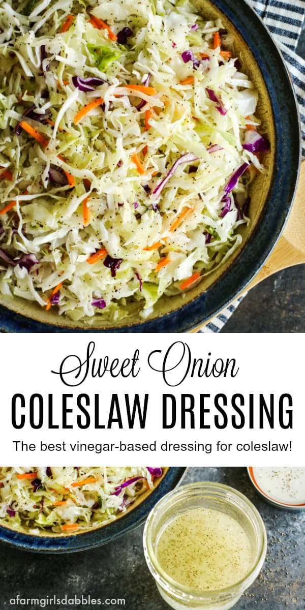 Sweet Onion Coleslaw Dressing from afarmgirlsdabbles.com - A simple homemade coleslaw dressing that is bright and tangy with vinegar. A sprinkling of celery seeds adds great flavor and texture. #coleslaw #dressing #coleslawdressing #salad #vinegar #onion