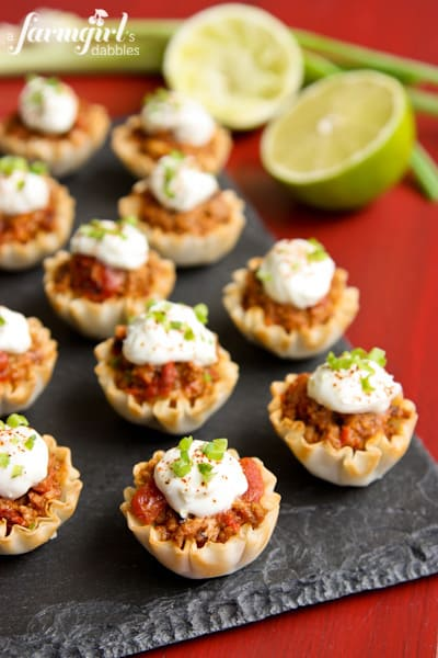 Cheesy Turkey Taco Cups with Zesty Lime Cream