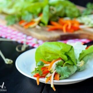 Lettuce wrap with fresh julienned vegetables on a white plate