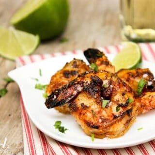 a plate of Grilled Caribbean Jerk Shrimp