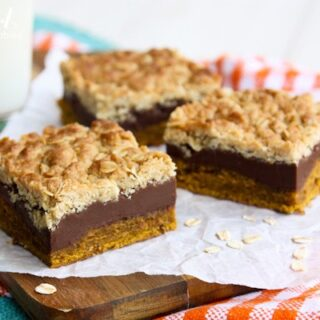 bars with pumpkin, fudge, and a streusel layer