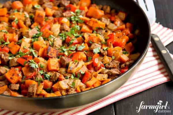 Beef and Sweet Potato Hash - www.afarmgirlsdabbles.com