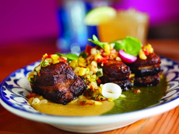 Crisp Pork carnitas with fresh corn salsa