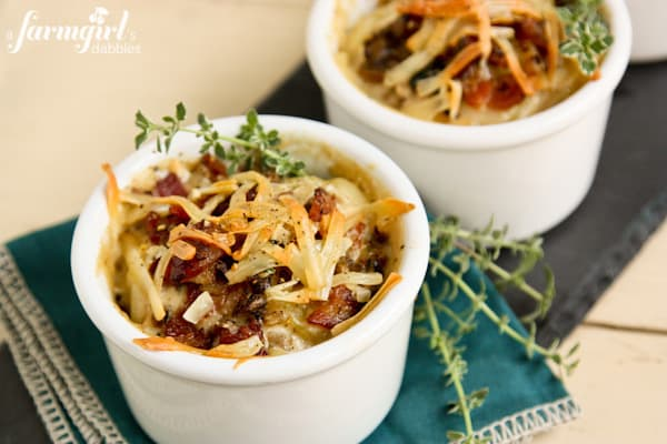 Make-Ahead Individual Potato Gratins with Bacon and Mushrooms - www.afarmgirlsdabbles.com