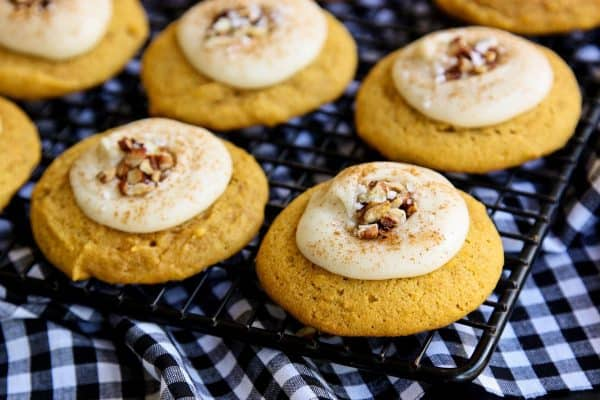 Melt-In-Your-Mouth Pumpkin Cookies on a cooling rack