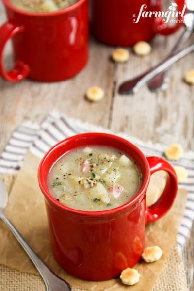 New England Clam Chowder with Salt Pork Belly - www.afarmgirlsdabbles.com
